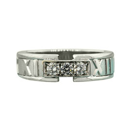 Tiffany & Co. 18K White Gold 3 Diamond Atlas Wedding Band Ring