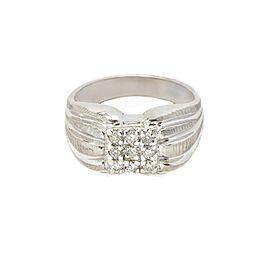 White White Gold Mens Ring Size 8
