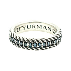 David Yurman Pavé Cable Band With Blue Color Diamonds Ring Size 8