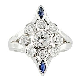 White White Gold Diamond, Sapphire Womens Ring Size 6.75