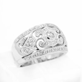 White White Gold Diamond Womens Ring Size 5.75