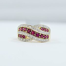 Ruby Ring 14K Yellow Gold .10Ct Diamonds 0.64Ct Ruby Ring