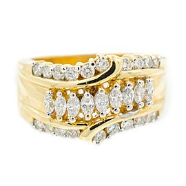 Yellow Gold Diamond Mens Ring Size 6.75