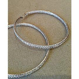 Odelia 18K White Gold 8.50ctw Diamond Hoop Earrings