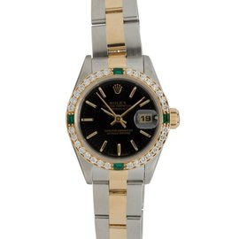 Rolex Datejust 69173 18K Two-Tone Diamond & Emerald Bezel Automatic Womens Watch