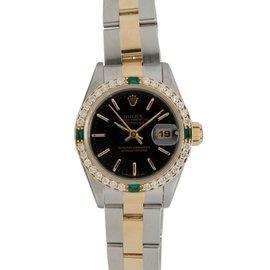 Rolex Datejust 69173 18K Two-Tone Diamond & Emerald Bezel Automatic Womens Watch