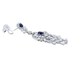 18K White Gold Sapphire, Diamond Earrings