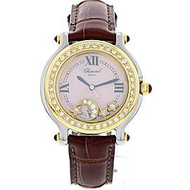 Chopard Happy Sport 27/8239-21 18K Yellow Gold & Stainless Steel Diamond Stars & Moon Womens Watch