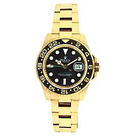 Rolex 116718 GMT Master 2 18K Yellow Gold Ceramic Bezel Black Dial Mens 40mm Watch