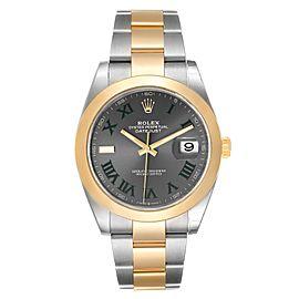 Rolex Datejust 41 Steel Yellow Gold Grey Green Dial Watch