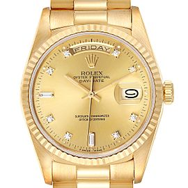 Rolex President Day-Date Yellow Gold Diamond Dial Mens Watch