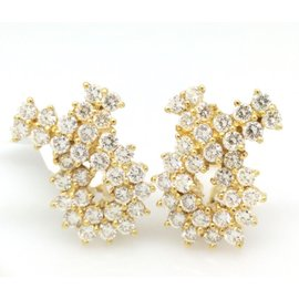 18K Yellow Gold 4.25ctw Diamond Two-Row Crossover Earrings