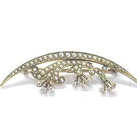 14K Yellow Gold With 0.25ct Diamond & Seed Pearls Pin Brooch