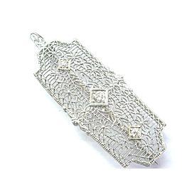 14k White Gold 0.20Ct Old European Cut Diamond 3-Stone Vintage Brooch Pendant