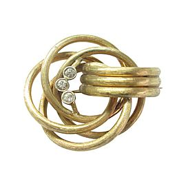 14k Yellow Gold Circular 3-Stone 0.45Ct Diamond Brooch