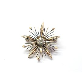 14k Rose Gold Old 0.35Ct Diamond Brooch