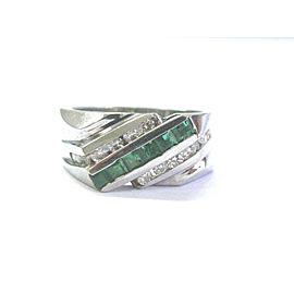 14K White Gold 1.16ct Green Emerald Diamond 3-Row Ring