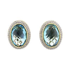 David Yurman 18K Yellow Gold Blue Topaz & 1ct Diamond Stud Omega Earrings