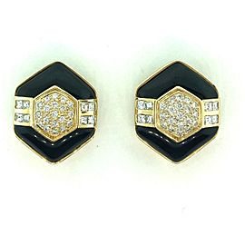 18K Yellow Gold Black Onyx 3.50ctw Diamond Earrings