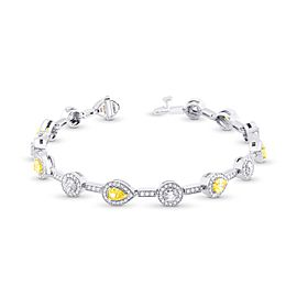 Leibish 18K Yellow and White Gold with 4.20ctw Diamond Halo Milgrain Bracelet