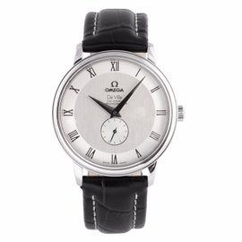 Omega Deville Co-Axial 48133001 Leather Band Silver Dial Automatic Men's Watch