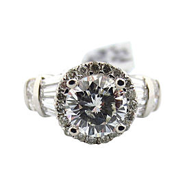 Platinum 2.21Ct Natural Brilliant Round Cut Diamond Engagement Ring