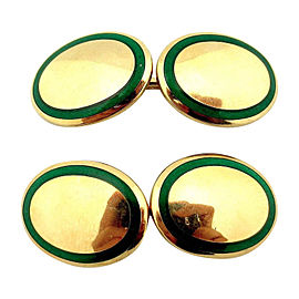 Tiffany & Co. 18K Yellow Gold & Green Enamel Cufflinks