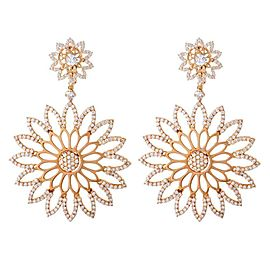 Crivelli 18K Rose Gold 4.69ctw Diamond Cutout Flower Earrings