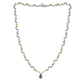14K Yellow and White Gold 0.97 Ct Tanzanite and 0.35 Ct Diamond One Drop S-Shape Link Necklace