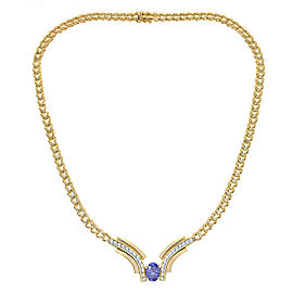 14K Yellow Gold 3.29 Ct Tanzanite and 1.50 Ct Diamond V-Shaped Necklace