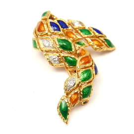 Mauboussin 18K Yellow Gold Enamel Harlequin 0.20ct Diamond Brooch