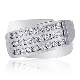 14K White Gold 1.00 Ct Round Cut Diamond Ring Size 10.25