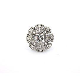 18k White Gold 3.30Ct Round Cut Diamond Flower Anniversary Ring
