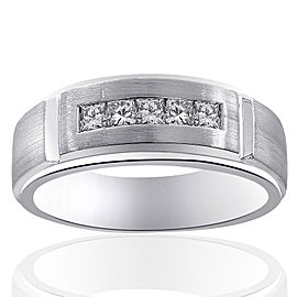 14K White Gold 0.55 Ct Princess Cut Diamond Wedding Band Ring Size 10.25