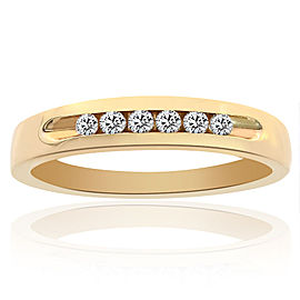 14K Yellow Gold 0.25 Ct Round Cut Diamond Wedding Band Ring Size 10.25