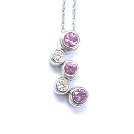 Tiffany & Co. Platinum Bubble .50ct. Diamonds & Pink Sapphire Necklace