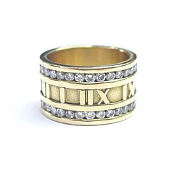 Tiffany & Co. 18K Yellow Gold Atlas .84ct. Diamond Ring Size 8