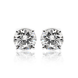 14K White Gold 2.03ct. Round Brilliant Cut Stud Earrings