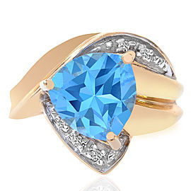 14K Yellow Gold Trillion Cut 3.50 Ct Blue Topaz and Round Cut 0.05 Ct Diamond Ring Size 8.75