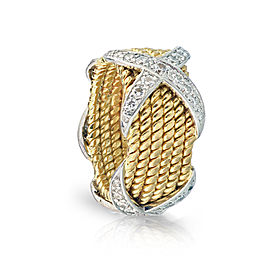 18K Yellow Gold, Platinum Diamond Ring Size 6.5