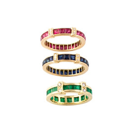 14k Yellow Gold Ruby, Sapphire, Emerald Womens Ring Size 7