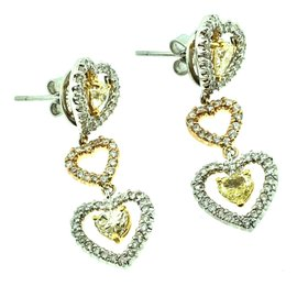 18K Gold 2.42ctw Diamond Dangle Earrings