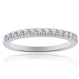 14K White Gold 0.30 Ct Round Brilliant Diamond Wedding Band Ring Size 6.75