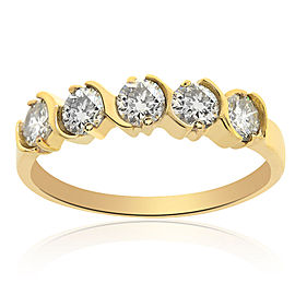 14K Yellow Gold & 1.15ct Diamond Wedding Band Ring Size 9.75