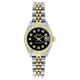 Rolex Datejust 6917 Stainless Steel/ 18K Yellow Gold Jubilee Black Diamond Dial & Bezel 26mm Womens Watch