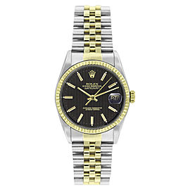 Rolex Datejust 16013 Stainless Steel and 18K Yellow Gold Black Tapestry Dial 36mm Mens Watch