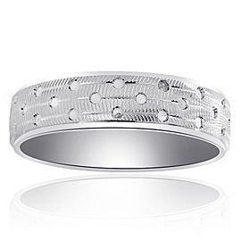 14K White Gold Diamond Cut Circles Band Size 11.75