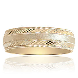14K Yellow Gold Milgrain Comfort Fit Mens Ring Size 12.0