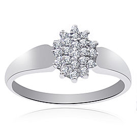 14K White Gold 0.25 Ct Round Cut Diamond Cluster Pyramid Ring Size 9.75