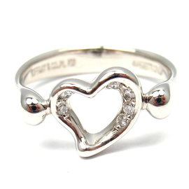 Tiffany & Co. Platinum Peretti Diamond Open Heart Ring Size 5.0